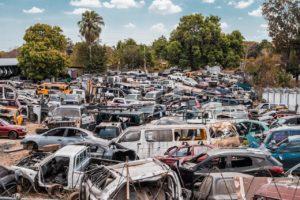 assorted cars junkyard